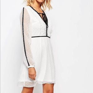FASHION UNION | White Eyelet Dress with Black Trim